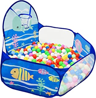 LOJETON Kids Ball Pit Pop Up Children Play Tent, Toddler Ball Ocean Pool Baby Crawl Playpen with Basketball Hoop and Zippe...