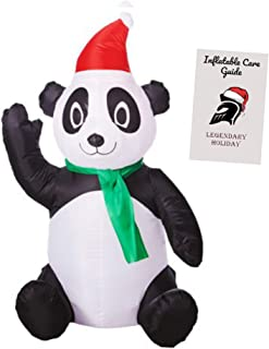 Christmas Panda Inflatable Holiday Decoration 3.5 ft with Inflatable Care Guide
