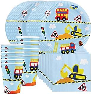 Transportation Party Supplies Set for 12 - Includes 36 pcs total: 12 Cups, 12 Plates, 12 Napkins