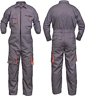 NORMAN Grey Work Wear Men's Overalls Boiler Suit Coveralls Mechanics Boilersuit Protective