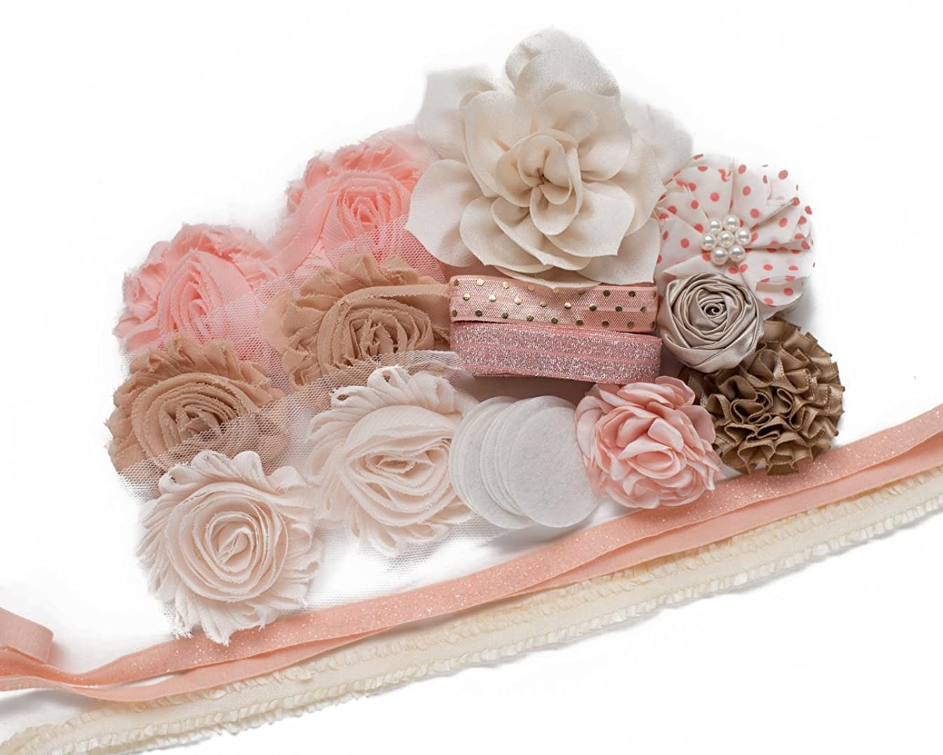 Penelope : DIY Headband Kit - Makes 8 Hair Accessories - Baby - Tween - Gift Making Station - Shabby Chiffon Craft Roses FOE Fold Over Elastic : Princess Parties & Baby Showers