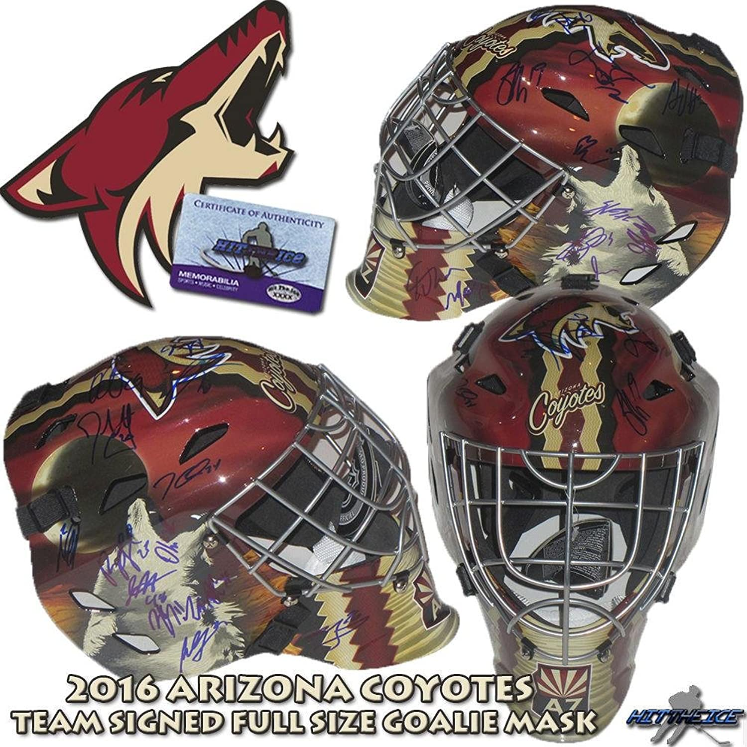 2016 Arizona Coyotes Team Signed FullSize Goalie MASK  DOMI  Duclair  Smith  Autographed NHL Helmets and Masks