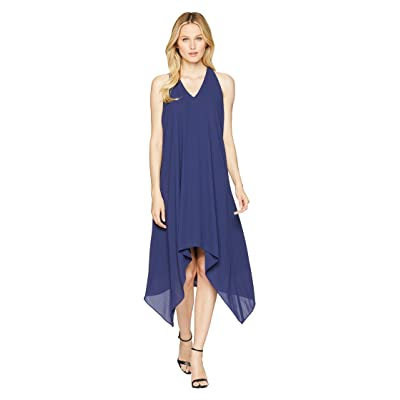 Maggy London Silky Georgette Halter Dress with Draped Back (Navy) Women