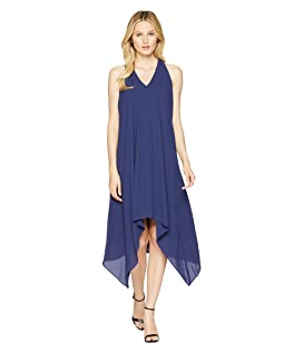 Silky Georgette Halter Dress with Draped Back