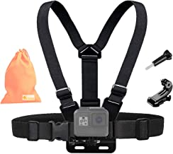 Kitway Chest Mount Harness, Adjustable Chest Strap Elastic Action Camera Body Belt with J Hoot Compatible with Akaso EK7000/DJI Osmo Pocket/GoPro Max, Hero 8 7/6/5 Black, 4/3+/3/2/1