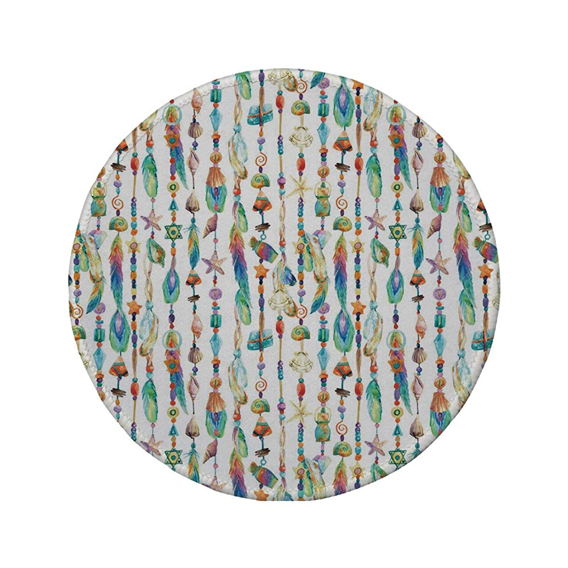 Non-Slip Rubber Round Mouse Pad,Feather,Watercolor Style Figures with Sea Shells Nautical Boho Style Chains Pendant Pattern,Multicolor,11.8