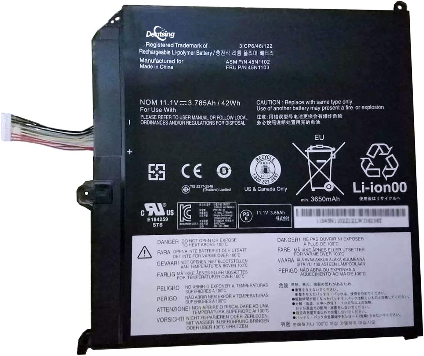 Dentsing 45N1102 11.1V Reservation 42Wh Courier shipping free 3785mAh Battery Laptop 3Cells Compat