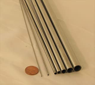 304 Stainless Steel Tubing, Length 12 Inch (30 cm), Tube Out Diameter OD 0.5 to 12 mm, Pack of 8