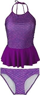 Mermaid Girl's Scale Peplum Tankini Swimsuit Set – Mermaidens Swimwear