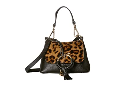See by Chloe Mini Joan Leopard Haircalf Crossbody (Black) Handbags