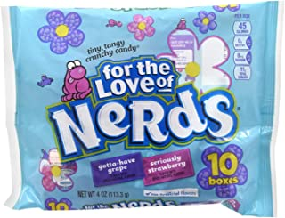 Nestle (1) 10pc Bag For The Love Of Nerds - Gotta-Have Grape & Seriously Strawberry - Tiny, Tangy Crunchy Candy In Individual Mini Boxes Spring/Easter 4 oz