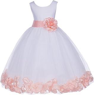 f05485684 ekidsbridal White Floral Rose Petals Flower Girl Dress Birthday Girl Dress  Junior Flower Girl Dresses 302s