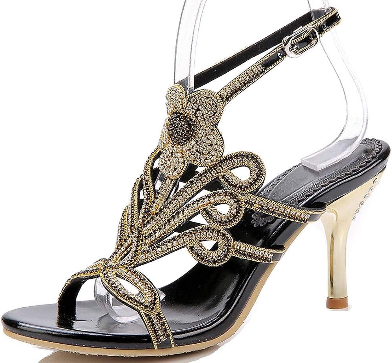 YooPrettyz Women Wedding Sandal Strappy Dress Sandal Slingback Heels Flower High Heels