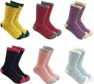 Women Christmas Fuzzy Socks, Fluffy Socks,Winter Warm Cozy Striped Socks, Crew Socks,Adult Home Slipper Socks,6 Pairs