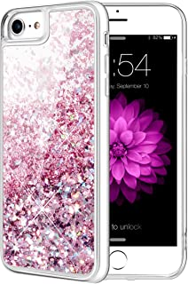 Caka iPhone 8 Case, iPhone 8 Glitter Case with Tempered Glass Screen Protector Bling Flowing Floating Luxury Glitter Sparkle Soft TPU Liquid Case for iPhone 7 8 (4.7 inch) (Rose Gold)