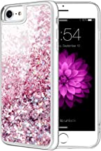 Caka iPhone 8 Case, iPhone 7 8 Glitter Case with Tempered Glass Screen Protector Bling Flowing Floating Luxury Glitter Sparkle Soft TPU Liquid Case for iPhone 7 8 (4.7 inch) (Rose Gold)