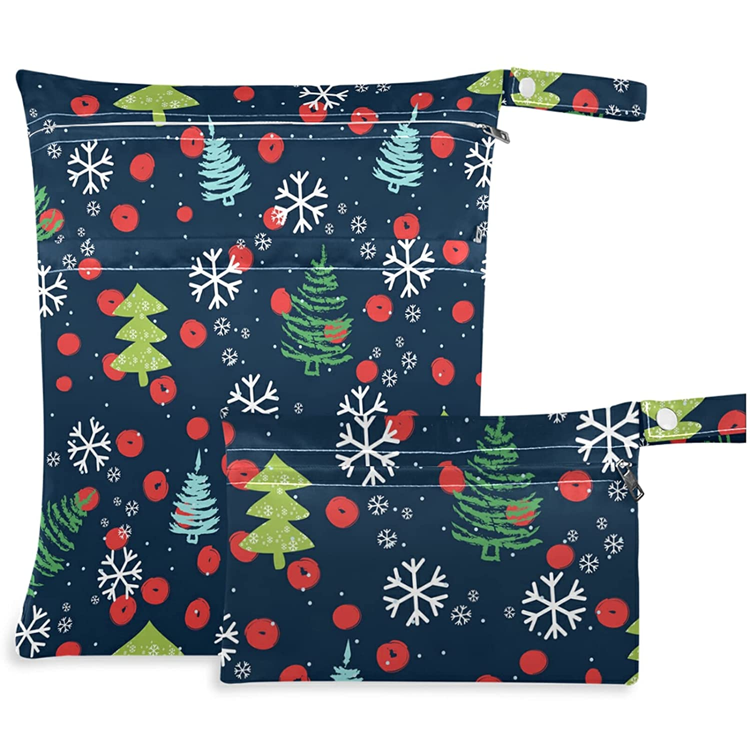 visesunny 2Pcs Wet Bag with Zippered Ranking TOP19 Pockets Tree and Christmas NEW before selling
