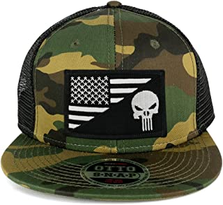Punisher Black White American Flag Embroidered Patch Camo Flat Bill Snapback Mesh Cap