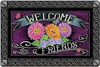 Babrukda Welcome Friends Daisy Flower Print Home Office Decor Doormat Thin Non-Slip Carpet Entrance Way Shoes Mat Shower/Garage/Patio/Balcony/Staircase/Garden/Kitchen/Bedroom Washable Floor Rug Mat
