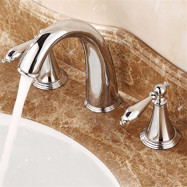 Bijjaladeva Wasserhahn Bad Wasserfall Mischbatterie Waschbecken WaschtischMessing Doppel Drei Loch Keramik Ventil Kaltes Wasser Badezimmer Waschtisch Armatur Silber Griff