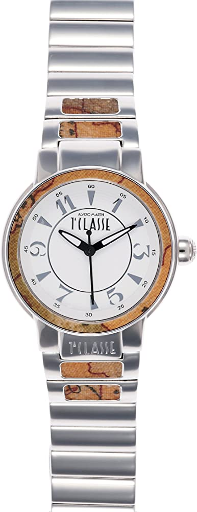 Alviero martini 1° classe, orologio per donna, cassain acciaio, ghiera con inserti in pelle geo PCD 957/BM_-