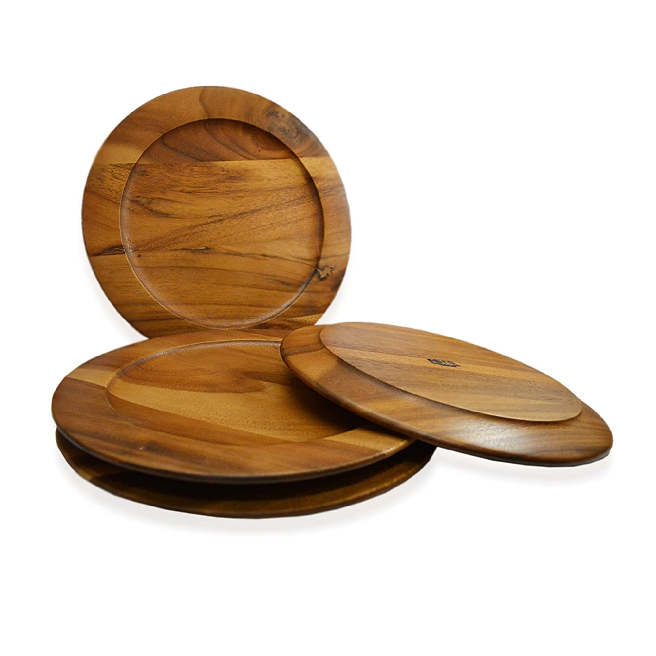 RoRo Classic Wood Charger Plates in Oak Stain Set of 4, 12 Inch