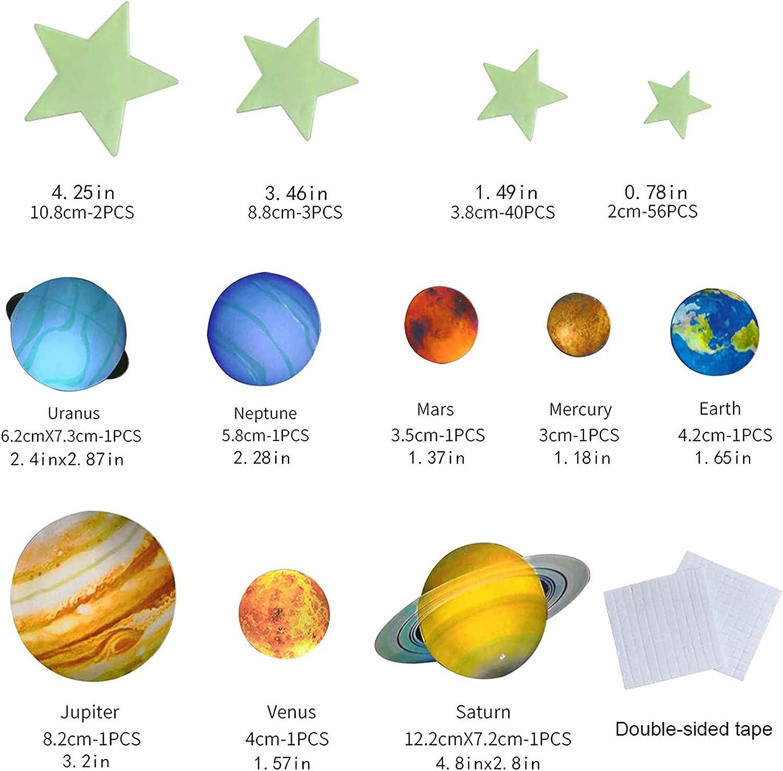 商品名称 100 Petit Stickers muraux phosphorescents avec /étoiles nuages montgolfi/ères et pleine lune pour ciel /étoil/é pour filles et gar/çons 8 plan/ètes