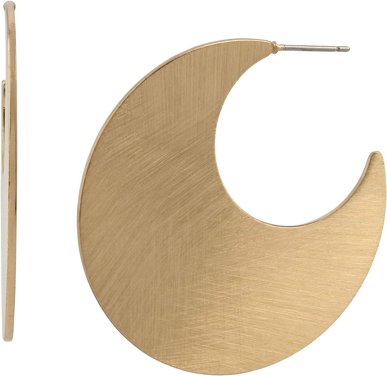 Large Moon Flat Hoop Earrings