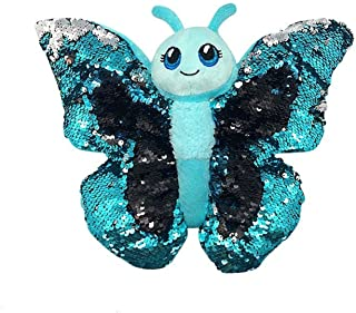Sequinimals Sequin Blue Butterfly Plush Stuffed Animal by Reversible Sequins Blue/Turquoise & Silver