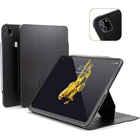 ZUGU iPad Pro 12.9 ケース 2020 第4世代 The Alpha Case 極薄 落下衝撃保護 10段階スタンド機能 ペンホルダー ワイヤレス充電 オートスリープ スマートカバー (ipad pro12.9インチ 4世代 カバー ブラック)