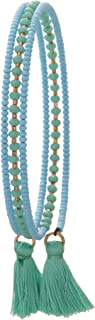 El Allure Preciosa Jablonex Seed Bead Turquoise and Teal Japanese Tube Cut Bead with Silk Thread Fringe Tassel Trendy Handmade Fine Bangle for Women.