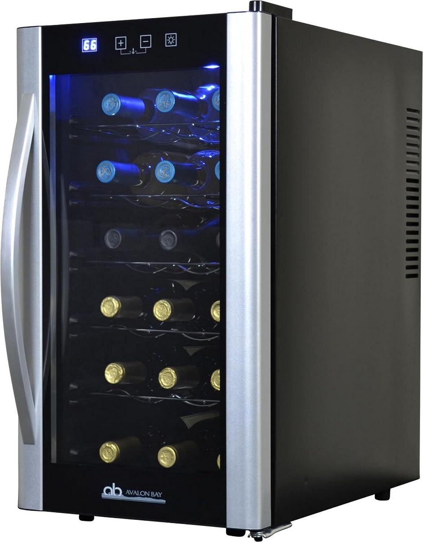 Avalon Bay AB-WINE18S Wine Fridge, 18 Bottle, Black Silver