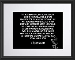 WeSellPhotos F. Scott Fitzgerald She was Beautiful Poster, Print, Picture or Framed Photograph (11x14 Matted to 8x10 Framed)