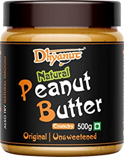 Dhyanut Natural Peanut Butter Crunchy | Made with 100% Roasted Peanuts | 500g
