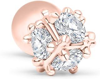 ONDAISY14K Gold Plated Simluated Diamond Cz Stainless Steel 16g 16Gauge Barbell Round Ball Ear Stud Earring Piercing For Women Girls