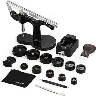 Eventronic Presse de Boîtier Montre, Outil Montre Pour Fermeture La Table Arrière De Montre 12 Tailles de Moules