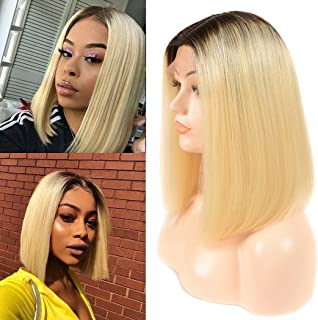 Ombre Blonde Lace Wig Human Hair Wigs Straight Bob Hair Wig 1b 613 L Shape Swiss Lace Glueless Pre Plucked Bleach Knot Minddle Part For Black Women Indian Remy Hair14 Inch