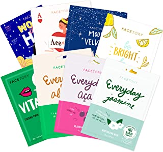 FaceTory Dry Skin Type Sheet Mask Collection - Moisturizing, Revitalizing, and Soothing (Pack of 8)