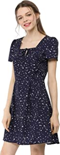 Allegra K Women's Star Heart Floral Print Casual Square Neck Short Sleeve Flare Dress
