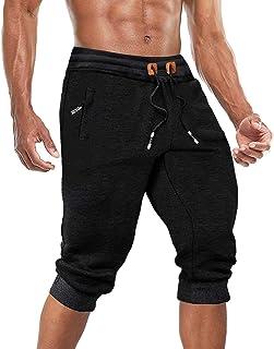 BIYLACLESEN Men's Capri Joggers 3/4 Pants Gym Workout Below Knee Pants with Three Pockets