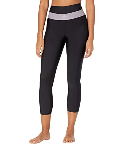 ALO High-Waist Fitness Capris (Black/Lavender Smoke) Women