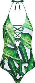 Avidlove Women One Piece Swimwear Printed Leaf Strappy Monokini Bathing Suit Swimsuit