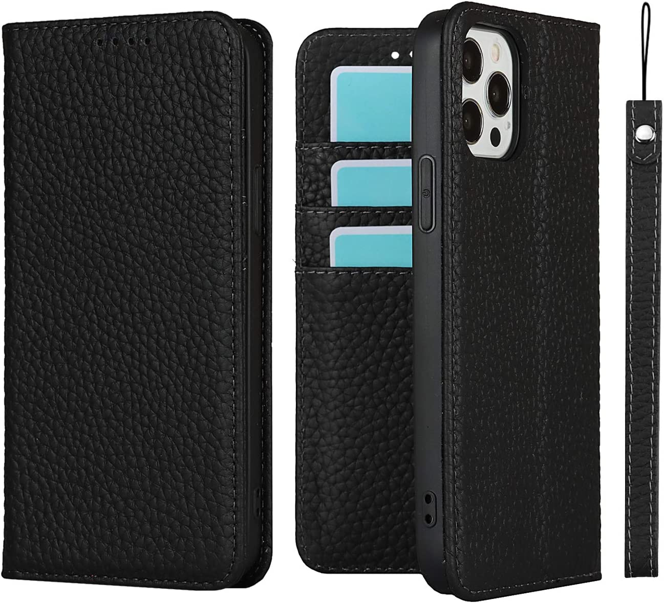 iCoverCase for iPhone 12 Pro Max Wallet Case for Men Women Genuine Leather RFID Blocking Credit Card Holder, Flip Folio Book Magnetic Cell Phone Cover for iPhone 12 Promax Leather Case (All Black)