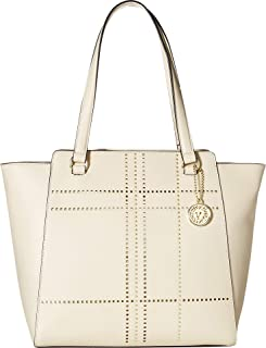 Anne Klein Womens Plaid Perf Winged Tote