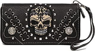 Sugar Skull Punk Art Rivet Studded Women Wallet Day of the Dead Wristlet Purse