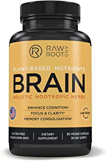 Brain (Holistic Nootropic Herbs) - Lions Mane, Rhodiola, Bacopa, Ginkgo, Huperzia for Brain Boost, Memory Support, Cognition, Focus – Dietary Supplement – 60 Vegetarian Capsules