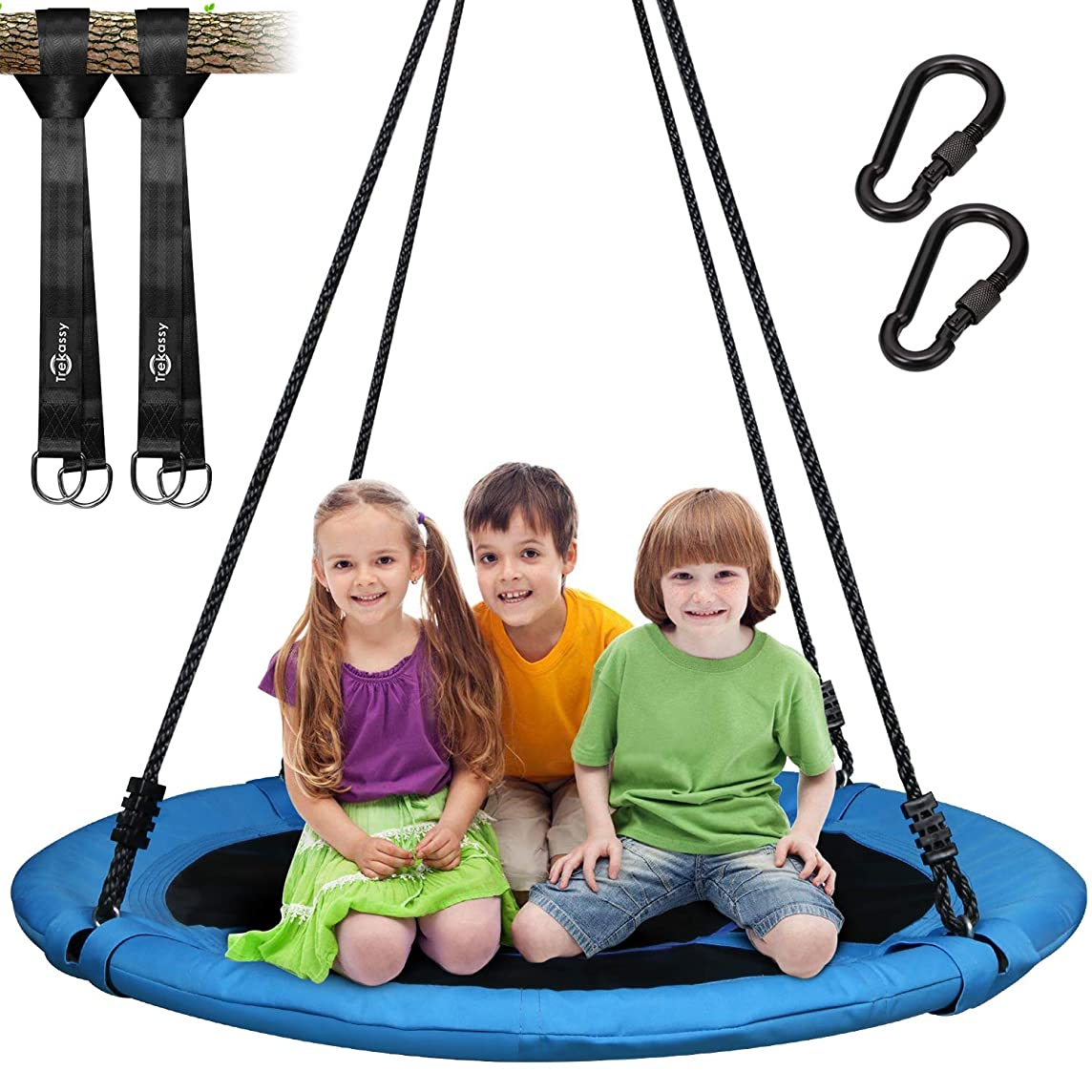 Trekassy 700lb Saucer Tree Swing for Kids Adults 40 Inch 900D Oxford Waterproof Frame with 2 Hanging Straps