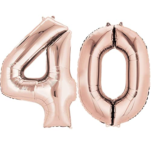Ouinne Number 40 Foil Balloons 40th Birthday Helium 40inch For Surprise Party