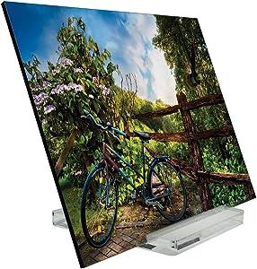 Reloj de escritorio Temporadas Bicicletas Pintura Valla Decoración Retro