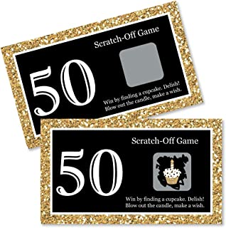 Big Dot of Happiness Adult 50th Birthday - Gold - Birthday Party Game Scratch Off Cards - 22 Count